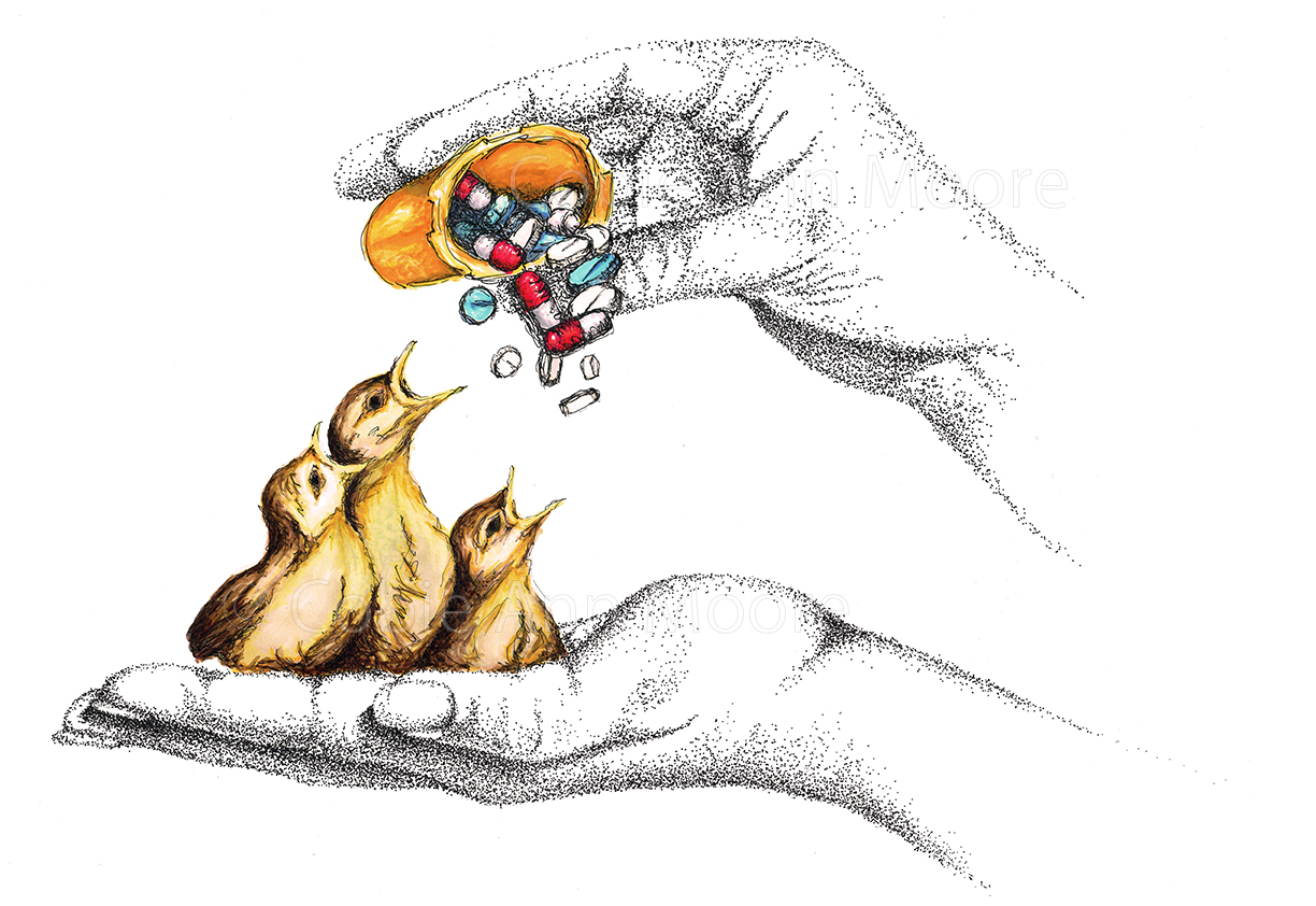 Drawing of brightly coloured yellow baby birds sitting in a human hand. Above them is another hand holding a bottle of pills feeding the birds.