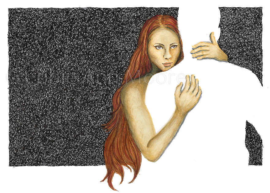 Drawing by Cobie Ann Moore of a woman hugging the silhouette of a man. Artwork is titled 'Absence of a Hug'