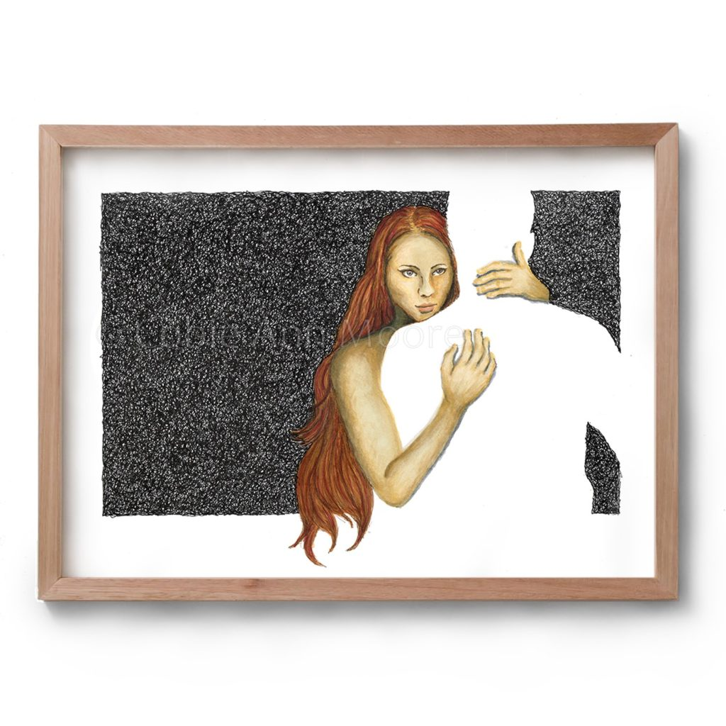 Drawing by Cobie Ann Moore of a woman hugging the silhouette of a man framed in a simple wooden frame