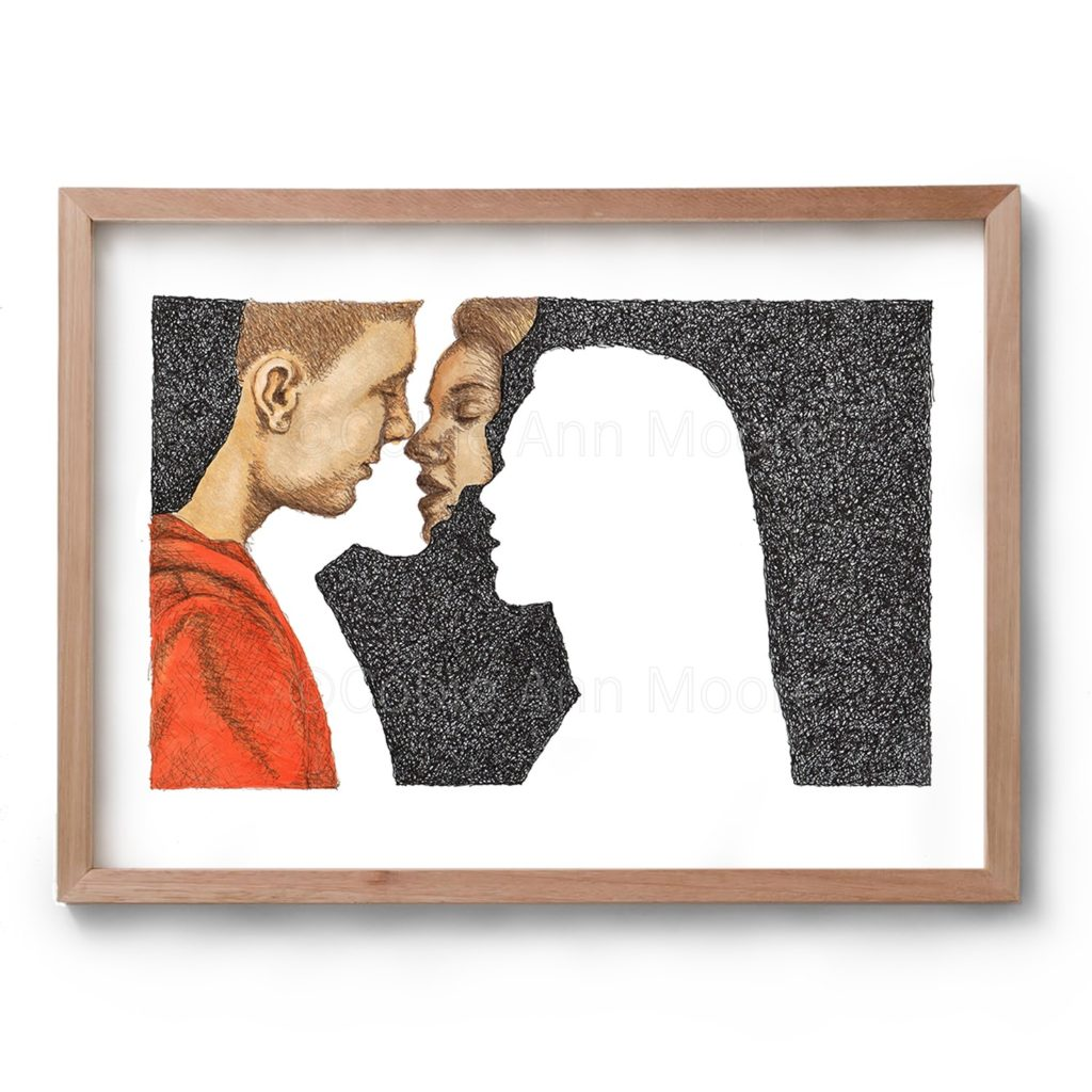 Drawing by Cobie Ann Moore of two people almost kissing framed in a simple wooden frame
