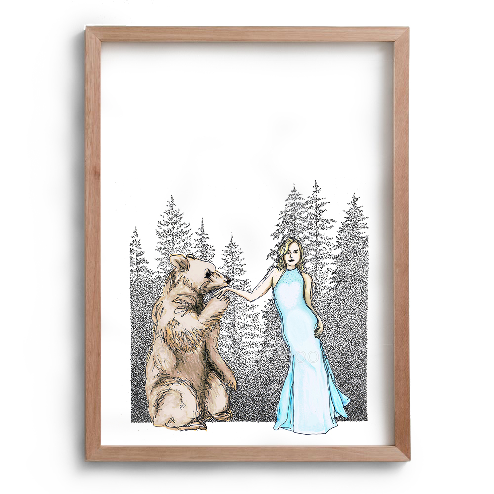 Drawing by Cobie Ann Moore of a lady wearing a blue dress and a brown bear kissing the woman's hand. In the background are some black and white trees drawn with the stippling technique. The artwork is framed in a simple wooden frame