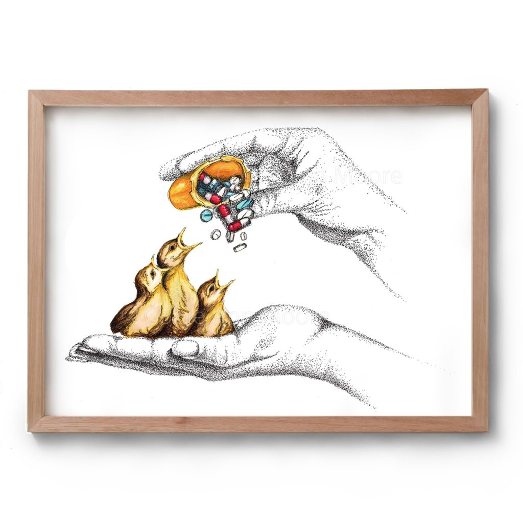 Drawing by Cobie Ann Moore of a hand holding three baby birds and another hand feeding them pills from a medicine bottle. The artwork is framed in a simple wooden frame