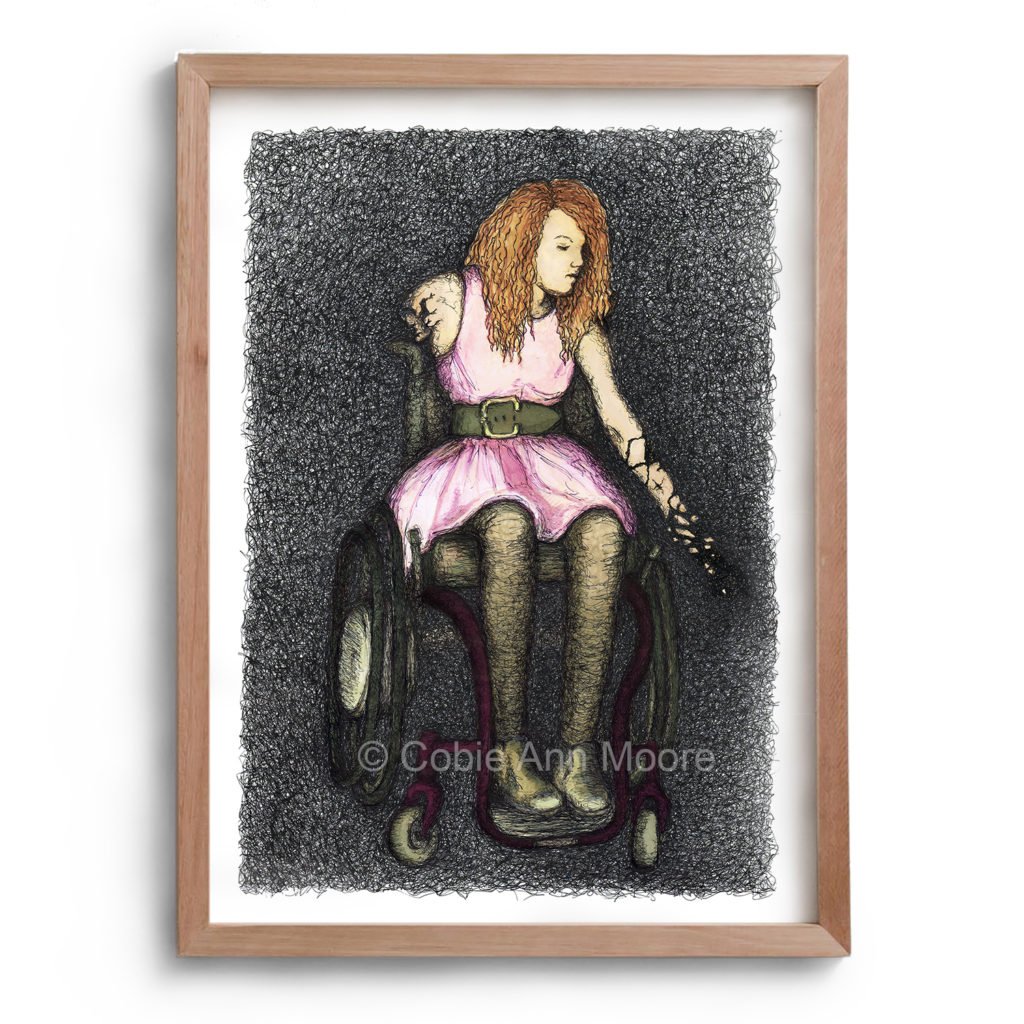 Drawing by Cobie Ann Moore of a woman in a wheelchair with both arms cracking and breaking like porcelain. The artwork is framed in a simple wooden frame