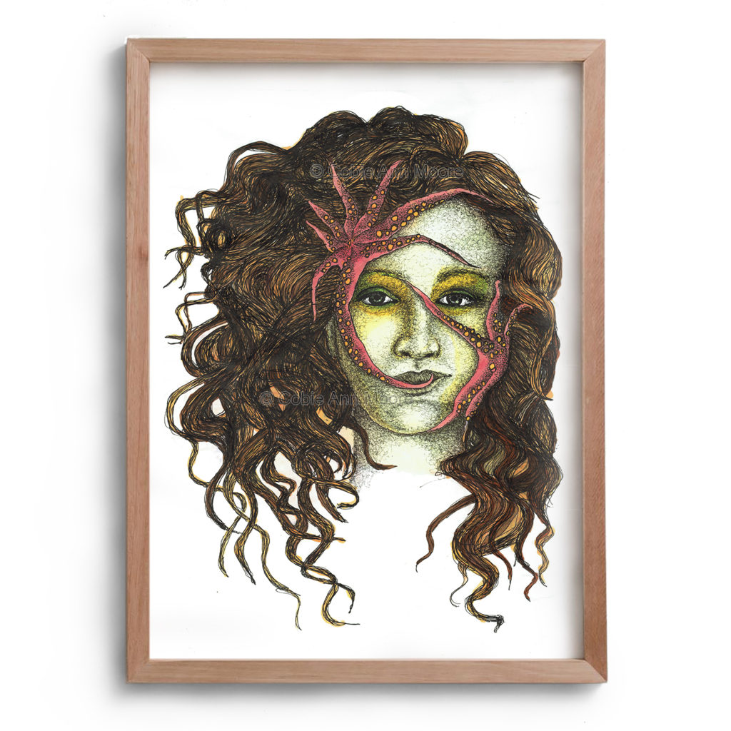 Drawing by Cobie Ann Moore of a woman with brown curly hair and yellow tinted skin, the woman also has green and yellow colours around the eyes. Two pink starfish are on the woman's face one on her forehead and one on her cheek. The artwork is framed in a simple wooden frame