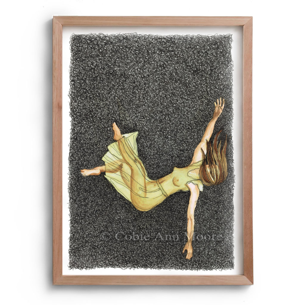 Drawing by Cobie Ann Moore titled 'Down the Rabbit Hole.' The drawing consists of a woman falling through a dark space wearing a transparent yellow dress. The artwork is framed in a simple wooden frame