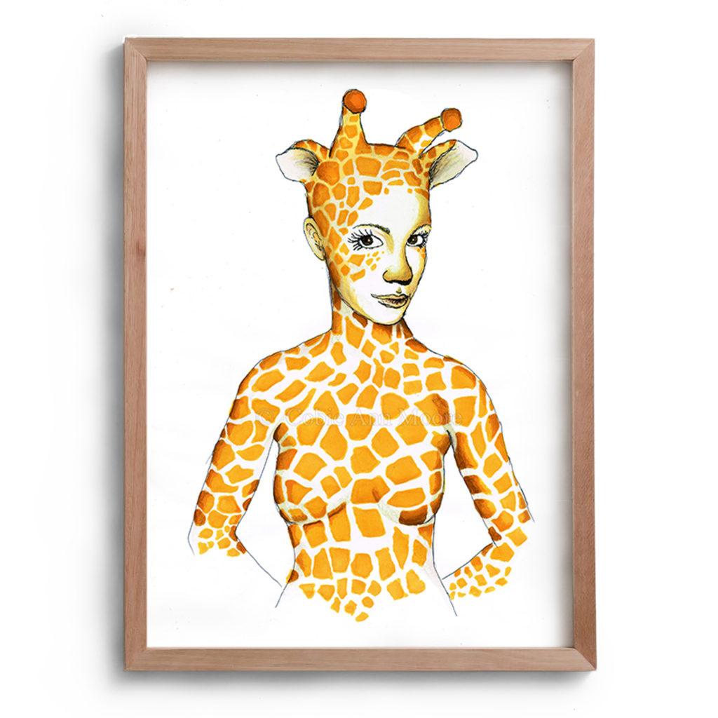 Drawing by Cobie Ann Moore of a lady with a giraffe pattern covering her body and face. The woman also has giraffe ears and horns. The artwork is framed in a simple wooden frame