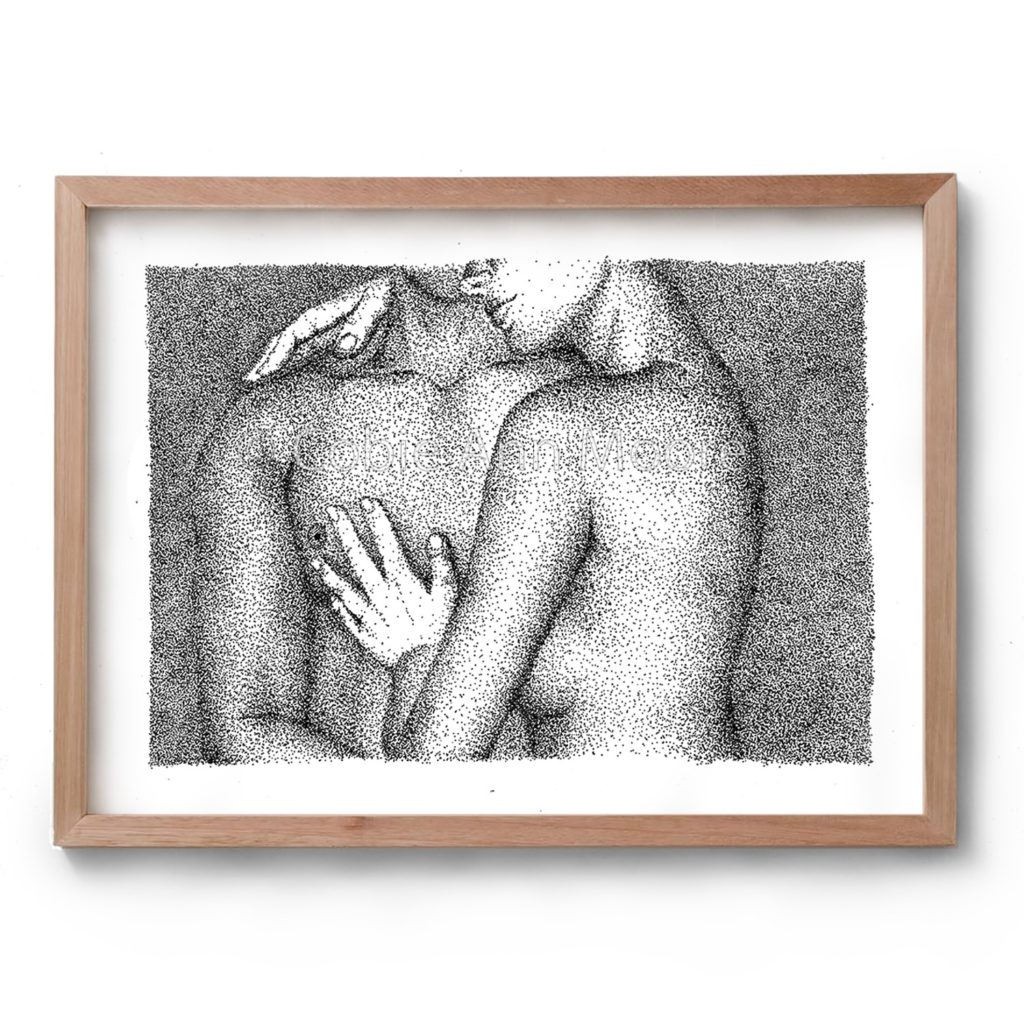 Black and white artwork by Cobie Ann Moore of a naked couple embracing, drawn with the stippling technique. Framed in a simple wooden frame