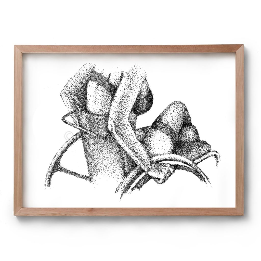 Black and white artwork by Cobie Ann Moore of a partially naked wheelchair user, drawn with the stippling technique. Framed in a simple wooden frame