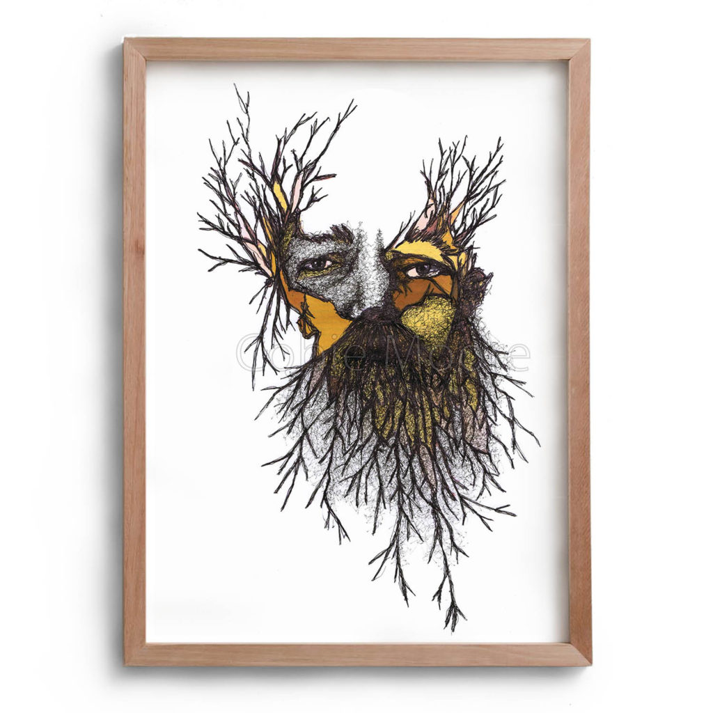 Drawing by Cobie Ann Moore of a man with a beard, both the beard and the hair on the top of his head are representative of sticks instead of hair. The artwork is framed in a simple wooden frame